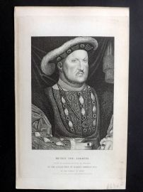 Bentley Temple Bar 1884 Antique Portrait Print. Henry the Eighth. Henry VIII